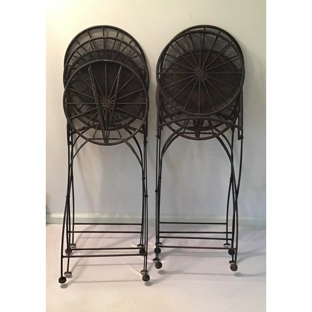 1960s 1960s Vintage Wrought Iron Pinwheel Bistro Style Folding Chair- Set of 4 For Sale - Image 5 of 13