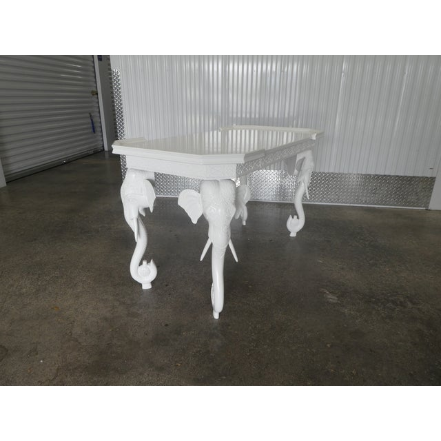 White 1970s Hollywood Regency Gampel Stoll White Lacquer Elephant Writing Desk For Sale - Image 8 of 13