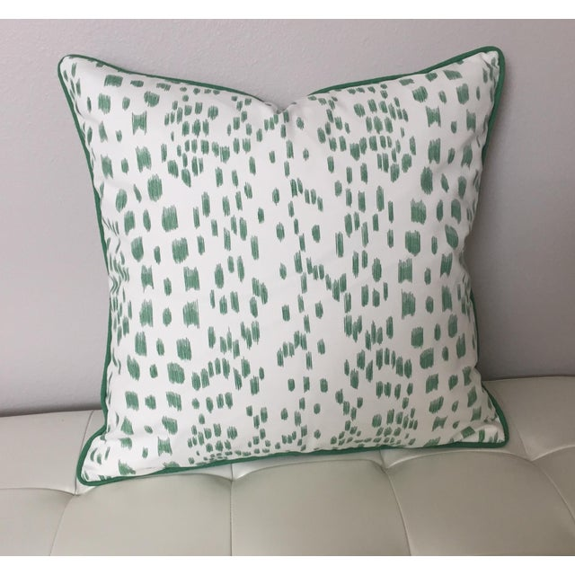 Not Yet Made - Made To Order Brunschwig & Fils Les Touches Green and Ivory Pillow Cover For Sale - Image 5 of 7