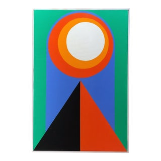 Colorful Framed Original Hard Edge Abstract Painting on Canvas by J. Marquis For Sale