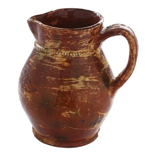 Glazed Redware Pitcher with Incised Federal Eagle Attributed to Jacob Medinger For Sale