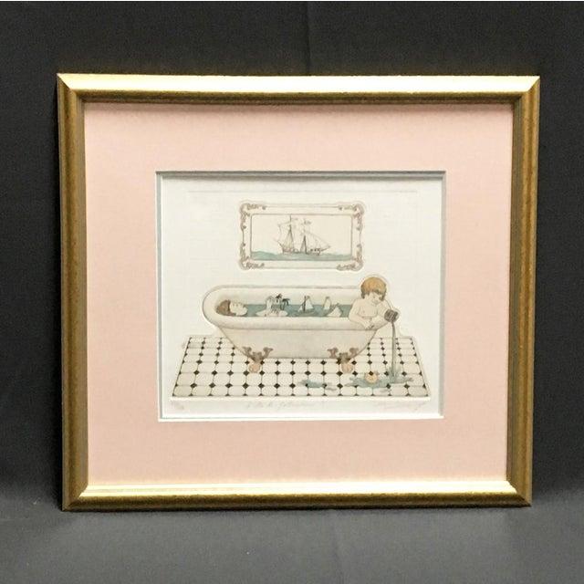 """L'ile De Robinson"" Bath Time Etching Framed Bathroom Art For Sale In Boston - Image 6 of 6"