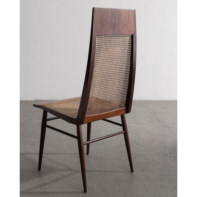 Mid-Century Modern Set of Eight (8) Dining Chairs in Rosewood With Cane Seat and Back For Sale - Image 3 of 6