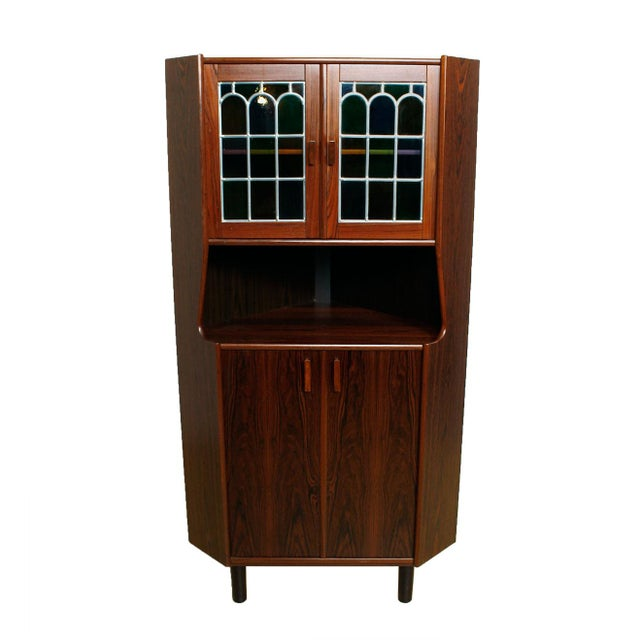 Rosewood Corner Bar W/ Stained Glass Doors - Image 4 of 6