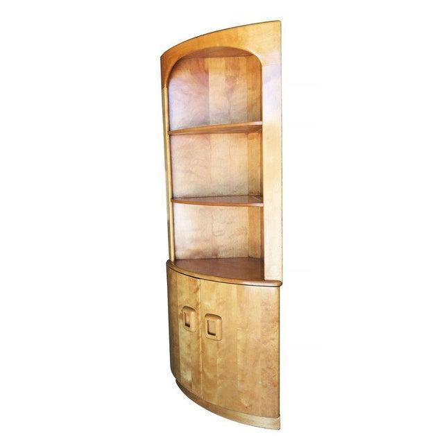 Heywood-Wakefield Blonde Streamline Maple Corner Cupboard Cabinet - Image 3 of 8