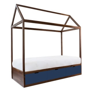 Domo Zen Twin Canopy Bed in Walnut With Deep Blue Finish Drawers Preview