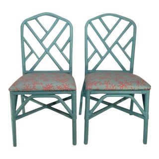 Chinoiserie Vintage Chinese Chippendale Lee Jofa Lilly Pulitzer Tiffany Blue & Coral Chairs - A Pair For Sale