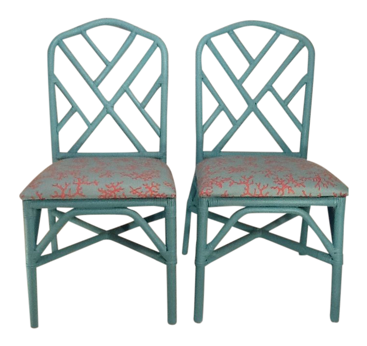 Chinoiserie Vintage Chinese Chippendale Lee Jofa Lilly Pulitzer Tiffany  Blue U0026 Coral Chairs   A Pair