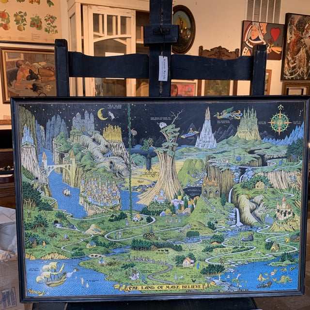 """Light Green Early 20th Century """"The Land of Make Believe"""" Poster by Jaro Hess, Framed For Sale - Image 8 of 8"""