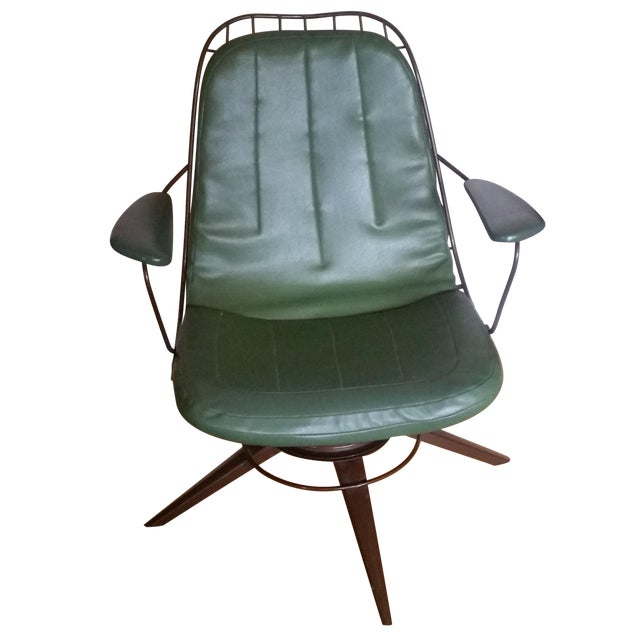Vintage Olive Green Homecrest Wire Swivel Chair - Image 1 of 6