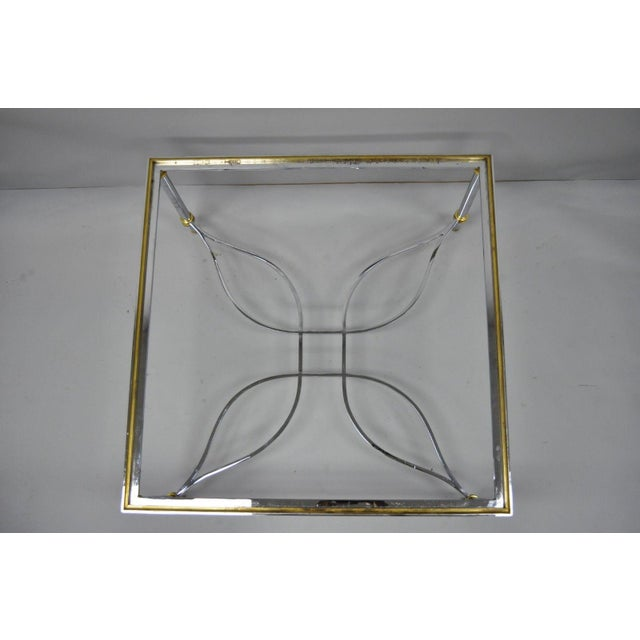 Hollywood Regency Neoclassical Maison Jansen Style Chrome Steel and Brass Square Coffee Table Base For Sale - Image 3 of 11