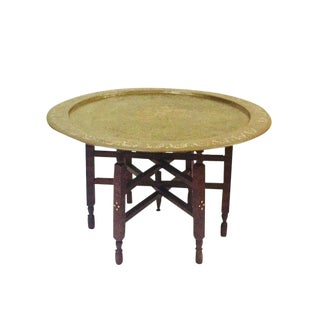 "Vintage Moroccan Tea Tray Table Painted Brass Tray Inlay Stand - 29"" Coffee Table For Sale"