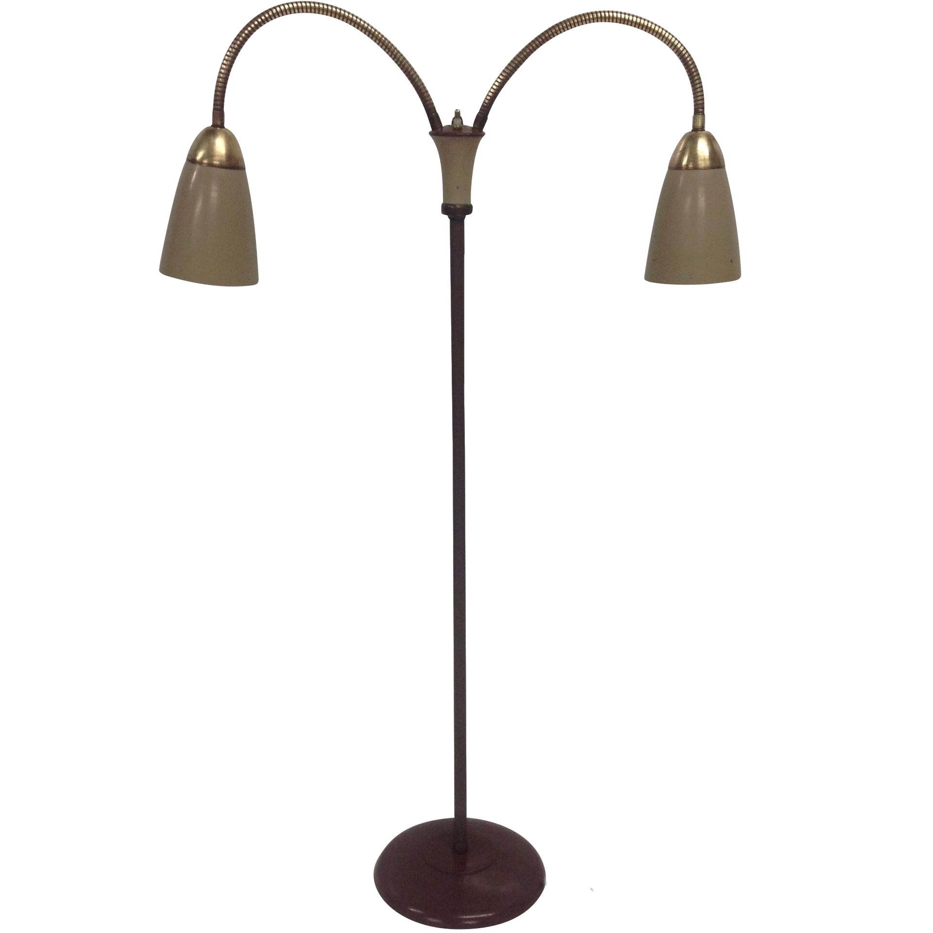 Lovely Mid Century Double Gooseneck Floor Lamp   Image 1 Of 4