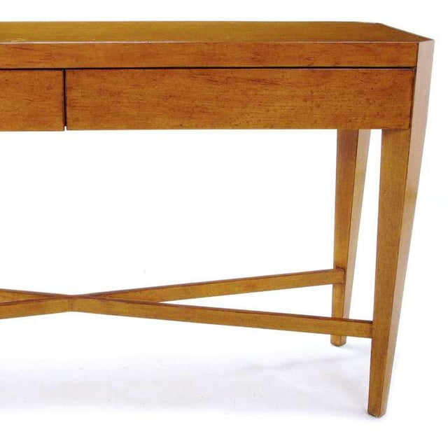 Brown Nancy Corzine Glazed Maple X-Based Art Moderne Console Sideboard For Sale - Image 8 of 11