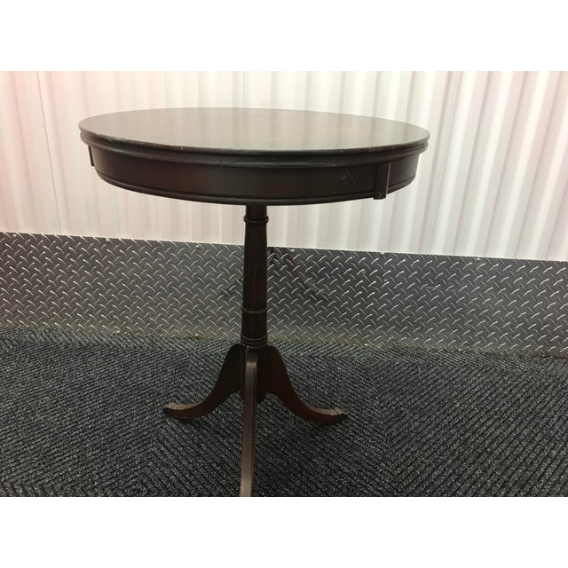 Traditional Antique Brass Clawed Foot Round Side Table For Sale - Image 3 of 5