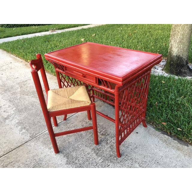 1970s Vintage Red Wood Chair For Sale - Image 4 of 5