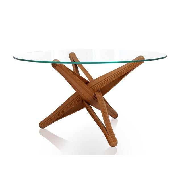 Not Yet Made - Made To Order Mid-Century Modern Lock Bamboo Dining Table Base For Sale - Image 5 of 13