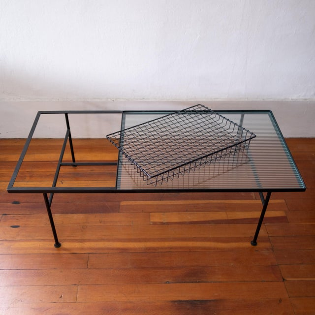 1950s Mid Century Modern Iron Coffee Table With Magazine Holder For Sale - Image 5 of 13