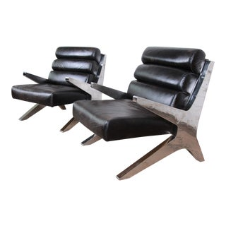 Mid-Century Modern Chrome and Leather Scissor Form Lounge Chairs, Pair For Sale