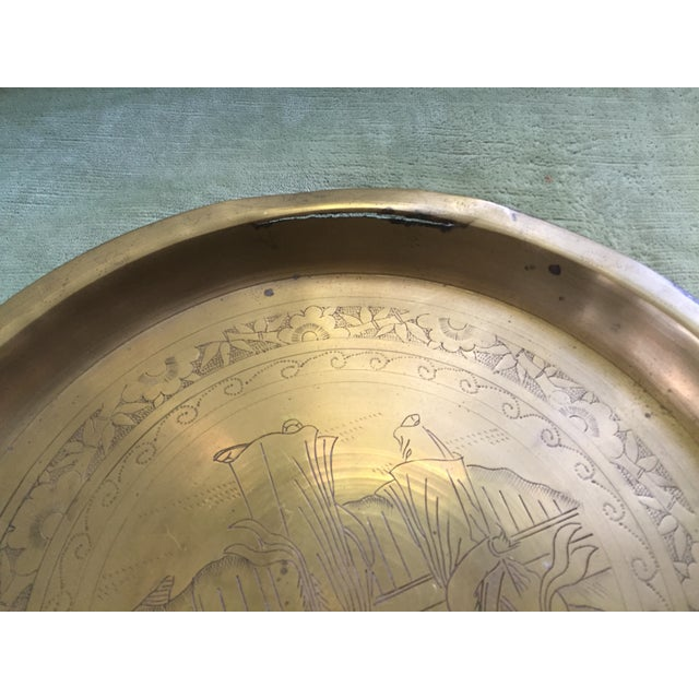 Mid-Century Oriental Brass Etched Tray - Image 6 of 6