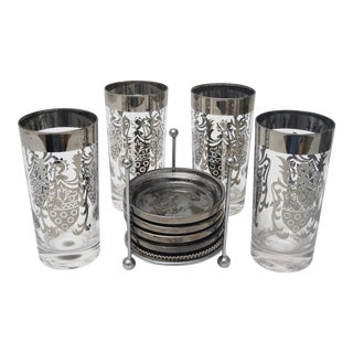 Mid-Century Silver Accent Glasses & Coasters - Set of 8 For Sale