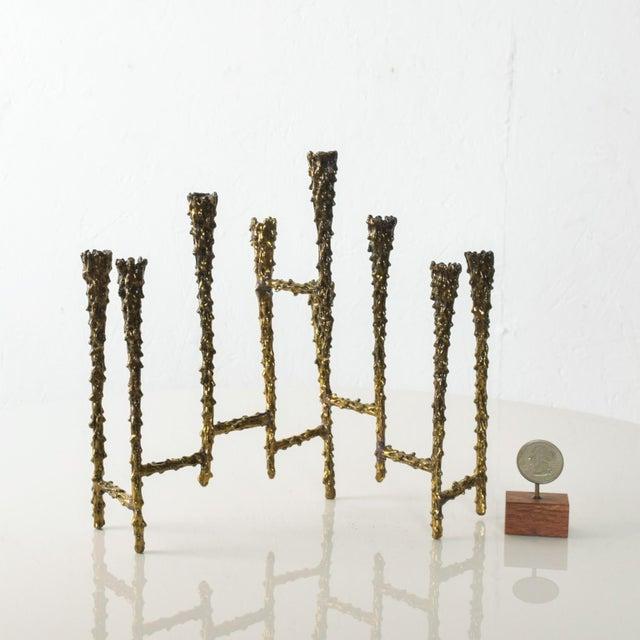Brutalist Midcentury Modern Brutalist Tiered Brass Candle Holder For Sale - Image 3 of 11