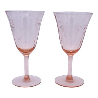 Mid 20th Century Pink Floral Wine Glasses - Set of 2 For Sale