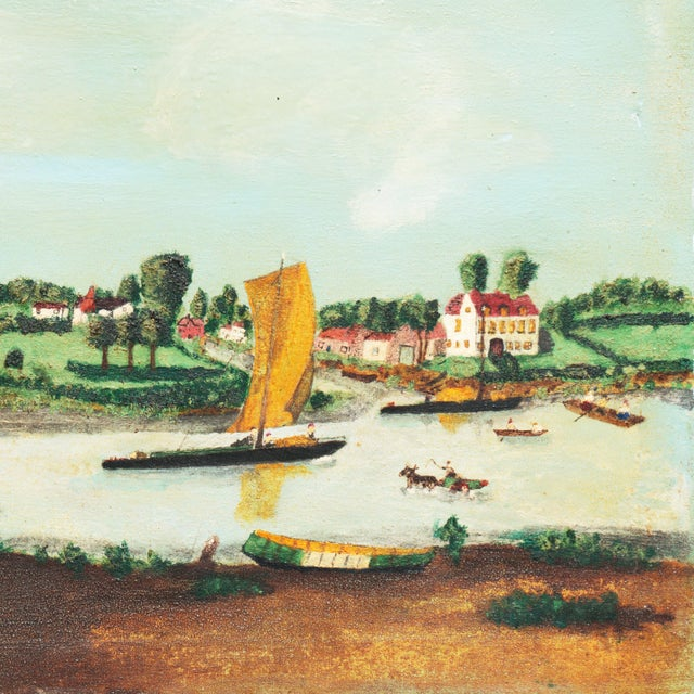 Canvas Early American Settlement on a River For Sale - Image 7 of 11