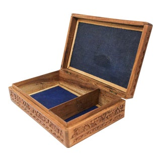Anglo Raj Hand Carved Wooden Decorative Jewelry Box For Sale