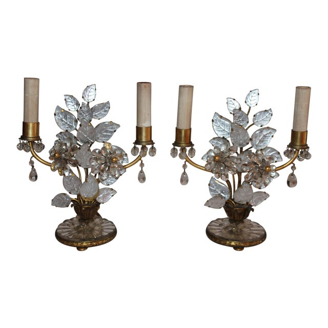 1930s Maison Bagues French Art Deco Cut Crystal Flowers Table Lamps - a Pair For Sale