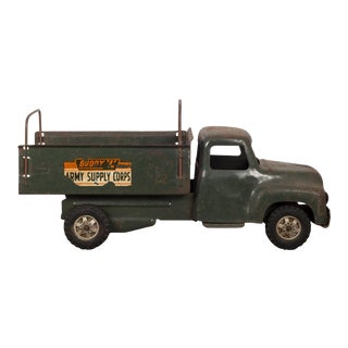 "Die Cast Steel Toy Truck ""Buddy L Army Supply Corps"" C. 1940 For Sale"