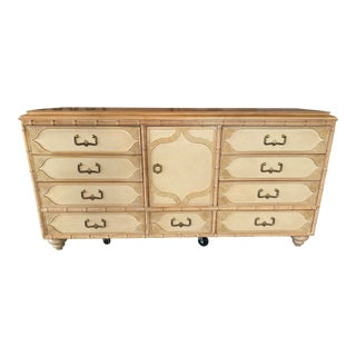 Drexel Faux Bamboo Campaign Credenza Dresser For Sale
