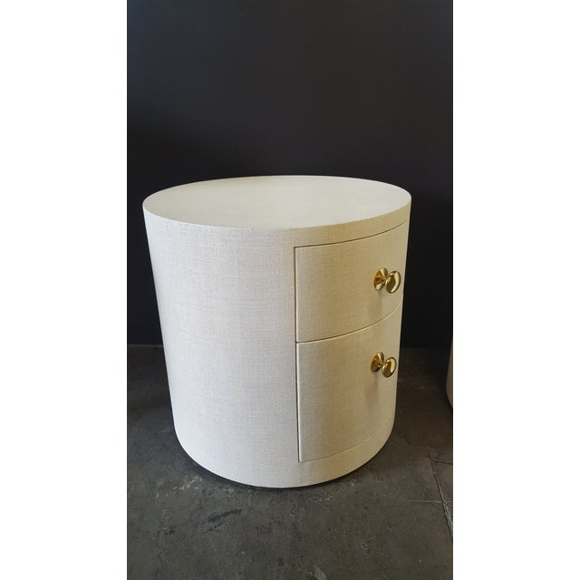 Contemporary Paul Marra Linen-Wrapped Round Nightstand For Sale - Image 3 of 9