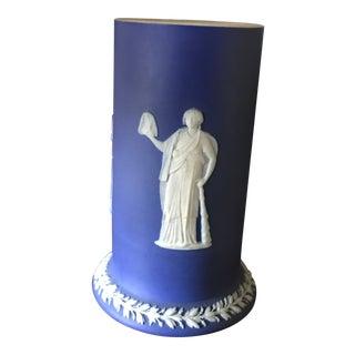 Wedgwood Cobalt Blue Jasperware Melpornene Muse Spill Vase For Sale