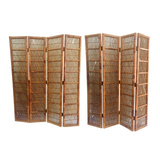 1960s Vintage Buri Rattan Folding Screens - a Pair For Sale