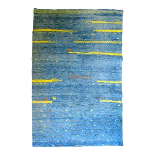 Bright Blue High-Pile Gabbeh Rug