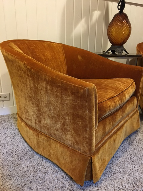 Velvet Vintage Club Chairs   A Pair For Sale   Image 10 Of 10