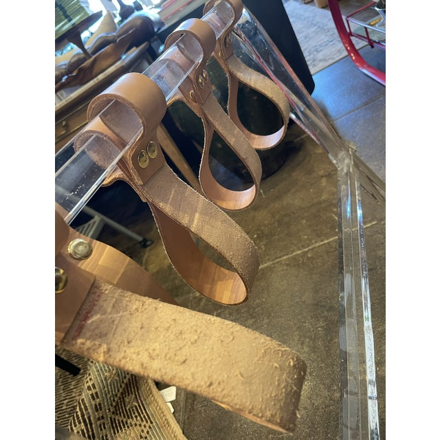Lucite & Leather Folding Luggage Table For Sale In Los Angeles - Image 6 of 9