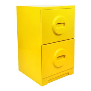 1970s Mid-Century Modern Yellow Plastic Akro-Mils Filing Cabinet For Sale