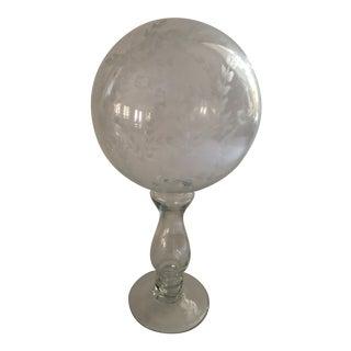 Vintage Etched Glass Orb on Pedestal For Sale