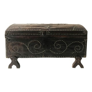 Vintage Spanish Trunk Covered Cordoba Leather For Sale