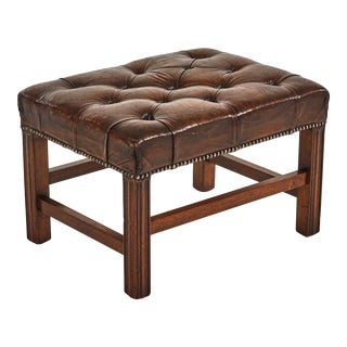 Early 20th Century English Tufted Leather Footstool or Bench For Sale