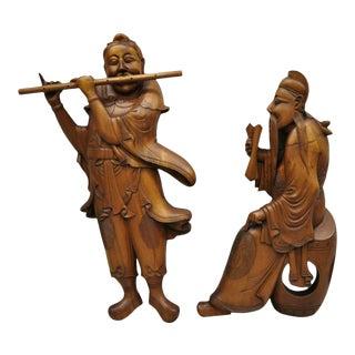 Vintage Ricardo Lynn Carved Teak Wood Oriental Figures - a Pair For Sale