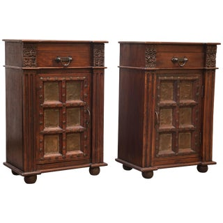 1950s Anglo-Indian Solid Teak Wood Nightstands - a Pair For Sale
