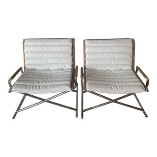 Contemporary Reupholstered Chrome Boat Chairs - a Pair For Sale
