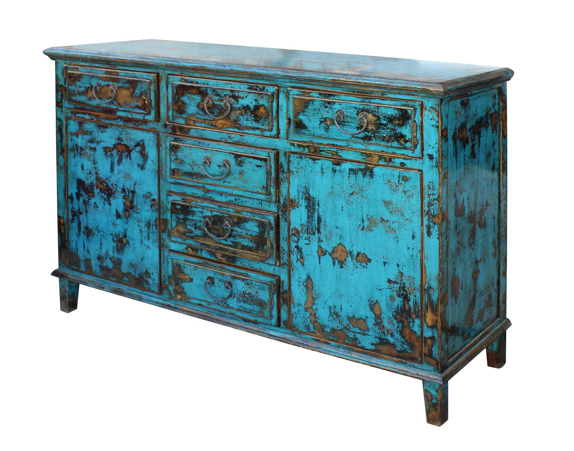Attrayant Asian Oriental Distressed Rustic Blue Credenza Sideboard Buffet Table  Cabinet For Sale   Image 3 Of