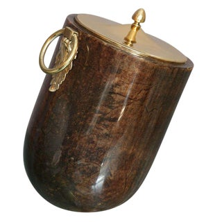 Aldo Tura Goatskin and Brass Tilted Ice Bucket For Sale