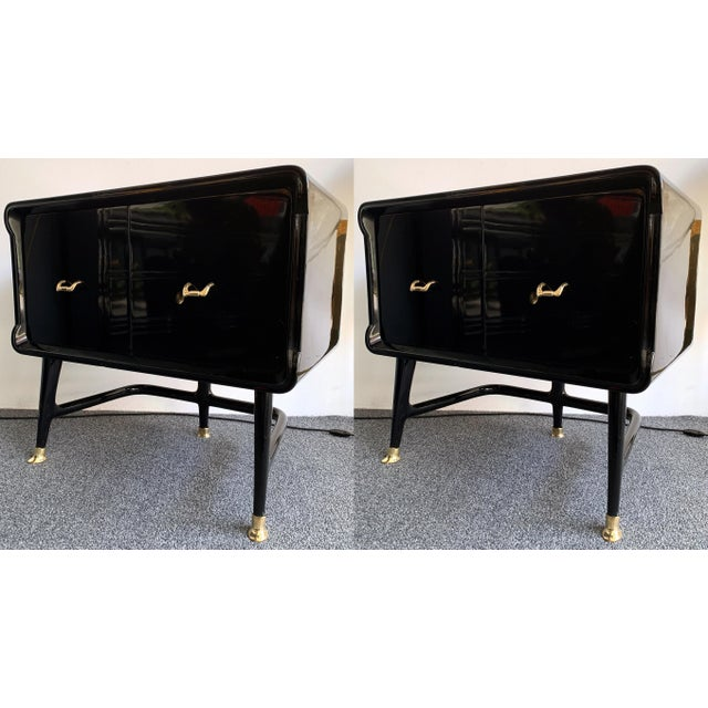 Pair of Lacquered and Bronze End Tables by Vittorio Dassi, Italy, 1950s For Sale - Image 12 of 12