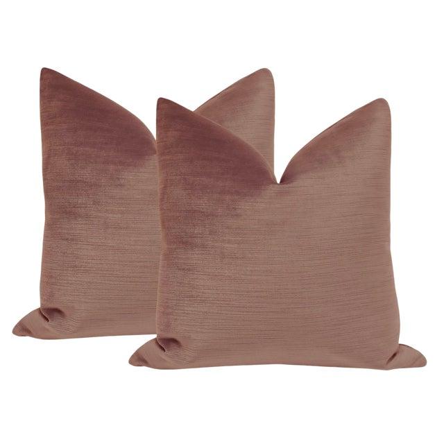 "22"" Strie Silk Velvet Vintage Rose Pillows - a Pair For Sale"