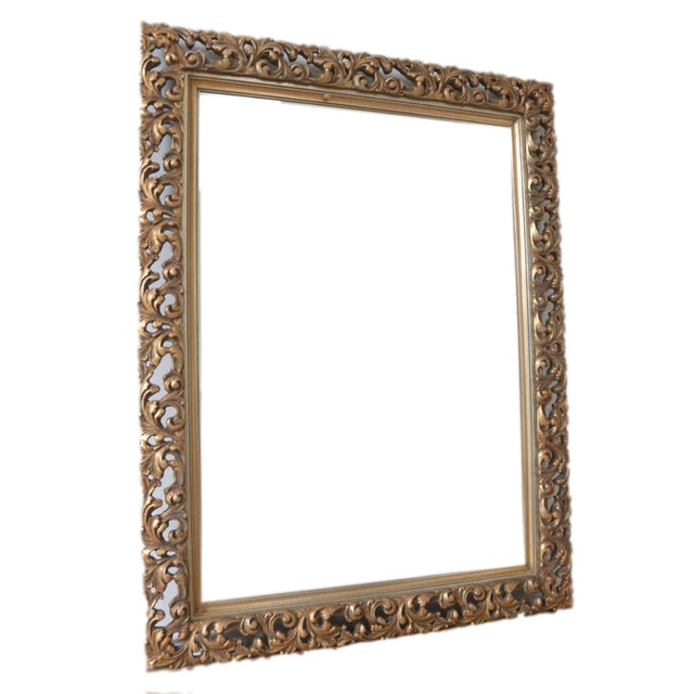 French Gold Filigree Carved Mirror - Image 1 of 4